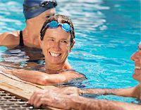 seniors and swim cap - Three senior friends in swimming pool, smiling Stock Photo - Premium Royalty-Freenull, Code: 6106-05542017
