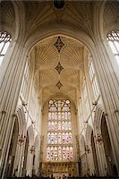 Interior view of Bath Cathedral, low angle view Stock Photo - Premium Royalty-Freenull, Code: 6106-05549034