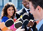 Politician speaking to reporters Stock Photo - Premium Royalty-Free, Artist: Westend61, Code: 635-05550050