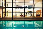 Pool and windows of modern house