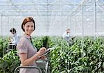 Woman writing on clipboard in greenhouse Stock Photo - Premium Royalty-Freenull, Code: 635-05550695