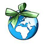 Earth wrapped in ribbon Stock Photo - Premium Royalty-Free, Artist: Garreau Designs, Code: 632-05554234