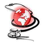 Red planet earth and stethoscope Stock Photo - Premium Royalty-Free, Artist: Cusp and Flirt, Code: 632-05554240