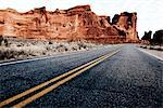 Double Yellow Line on Highway and Sandstone Formations Stock Photo - Premium Rights-Managed, Artist: ableimages, Code: 822-05554877