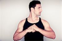Man Wearing Sleeveless Tank Top Stock Photo - Premium Rights-Managednull, Code: 822-05555041