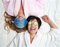 facial - Women in bathrobes wearing eye masks Stock Photo - Premium Royalty-Freenull, Code: 649-05555825