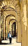 Woman walking through arches of ancient building Stock Photo - Premium Royalty-Free, Artist: Robert Harding Images, Code: 6106-05561226