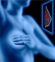 Woman examining her breast, simulated breast scan (Digital Composite) Stock Photo - Premium Royalty-Freenull, Code: 6106-05563804