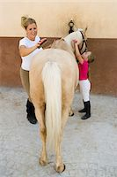 female rear end - Woman and girl (4-6) grooming horse Stock Photo - Premium Royalty-Freenull, Code: 6106-05584833