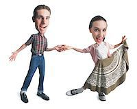 female white background full body - photo caricature of a young caucasian couple dressed in retro clothing as they dance together Stock Photo - Premium Royalty-Freenull, Code: 6106-05595322