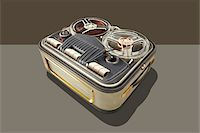 Vintage tape recorder with graphic shadow Stock Photo - Premium Royalty-Freenull, Code: 6106-05603131