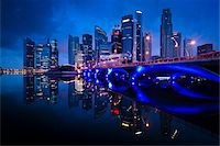 Bridge and Financial District, Central Region, Singapore Stock Photo - Premium Rights-Managednull, Code: 700-05609427