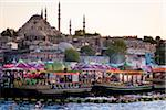 Boats in front of Suleymaniye and Yeni Camii Mosques, Eminonu District, Istanbul, Turkey