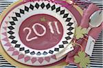 2011 written in soup plate Stock Photo - Premium Royalty-Free, Artist: photo division, Code: 689-05610843