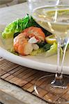 Salad with shrimps and glass of white wine Stock Photo - Premium Royalty-Free, Artist: Universal Images Group, Code: 689-05611821