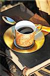 Cup of coffee on book outdoors Stock Photo - Premium Royalty-Freenull, Code: 689-05611941