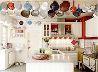stove - Country kitchen with sifters on the ceiling Stock Photo - Premium Royalty-Freenull, Code: 689-05612298