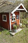Red garden shed Stock Photo - Premium Royalty-Free, Artist: Aurora Photos, Code: 689-05612504