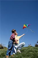 Father and Son Flying a Kite Stock Photo - Premium Royalty-Freenull, Code: 6106-05621588