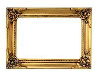 rectangle - Ornate Picture Frame in Gold Leaf Stock Photo - Premium Royalty-Freenull, Code: 6106-05625412