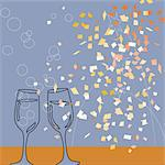 Champagne flutes and confetti Stock Photo - Premium Royalty-Free, Artist: Robert Harding Images    , Code: 6106-05626905