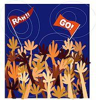 pennant flag - Crowd cheering Stock Photo - Premium Royalty-Freenull, Code: 6106-05628066