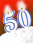 50th birthday candles on cake Stock Photo - Premium Royalty-Free, Artist: Blend Images, Code: 6106-05629455