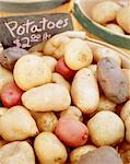 Various types of potatoes in basket at market Stock Photo - Premium Royalty-Free, Artist: IIC, Code: 6106-05629998