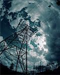 Electricity pylon, low angle view (cross-processed, wide angle)