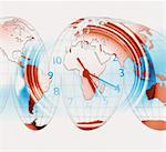 World map and clock (Digital Composite) Stock Photo - Premium Royalty-Free, Artist: David Muir, Code: 6106-05632592