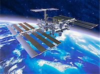 Model of European Space Station above Earth Stock Photo - Premium Royalty-Freenull, Code: 6106-05633410