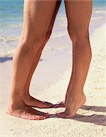 Couple kissing on beach, close-up of feet (low section) Stock Photo - Premium Royalty-Freenull, Code: 6106-05634496
