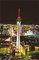 USA, Nevada, Las Vegas, skyline, night, aerial view Stock Photo - Premium Royalty-Freenull, Code: 6106-05634905