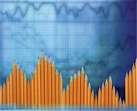 represented - Sharpened pencils forming bar chart on blue graph chart background Stock Photo - Premium Royalty-Freenull, Code: 6106-05638571