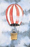 Businessman in a hot-air balloon Stock Photo - Premium Royalty-Freenull, Code: 6106-05639455