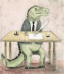 Dinosaur signing paperwork Stock Photo - Premium Royalty-Free, Artist: Minden Pictures, Code: 6106-05639456