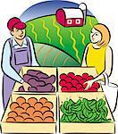 People at Farm Stand Stock Photo - Premium Royalty-Free, Artist: Aflo Relax, Code: 6106-05641418