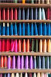 Colourful Silk Thread on Shelf, Poonriang Village, Surat Thani Province, Thailand Stock Photo - Premium Rights-Managed, Artist: dk & dennie cody, Code: 700-05641555