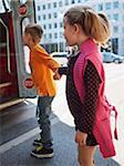 Kids Boarding Streetcar, Toronto, Ontario, Canada