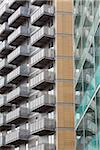 England, Greater Manchester, Manchester. Detail shot of the Bridge apartments on the banks of the River Irwell near the Trinity Bridge. Stock Photo - Premium Rights-Managed, Artist: Jason Friend, Code: 700-05641999