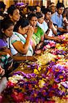 People Leaving Offerings at Temple of the Tooth during Kandy Perehera Festival, Kandy, Sri Lanka
