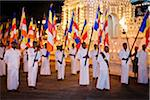 Flag Bearers in front of Temple of the Tooth, Esala Perahera Festival, Kandy, Sri Lanka