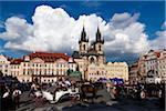 Church of Our Lady before Tyn and Town Square, Old Town, Prague, Czech Republic