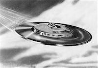 spaceship - 1950s ARTIST'S CONCEPTION UFO FLYING SAUCER Stock Photo - Premium Rights-Managednull, Code: 846-05645877