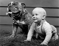 1950s - 1960s BABY ON HANDS & KNEES NEXT TO SEATED BULLDOG IN GRASS Stock Photo - Premium Rights-Managednull, Code: 846-05646106