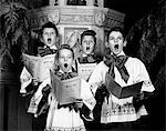 1940s PORTRAIT OF 4 CHOIRBOYS SINGING O HOLY NIGHT Stock Photo - Premium Rights-Managed, Artist: ClassicStock, Code: 846-05646191