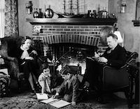 1930s FAMILY OF FOUR SITTING IN FRONT FIREPLACE MOTHER KNITTING FATHER READING SMOKING PIPE KIDS DOING HOMEWORK Stock Photo - Premium Rights-Managednull, Code: 846-05646502