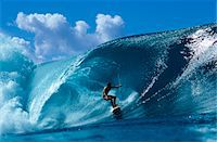 1980s SURFER SURFING ON SURFBOARD IN SURF HAWAII Stock Photo - Premium Rights-Managednull, Code: 846-05646609