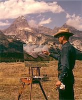 1950s - 1960s MAN ARTIST SMOKING PIPE PAINTING MOUNTAIN LANDSCAPE GRAND TETONS WYOMING Stock Photo - Premium Rights-Managednull, Code: 846-05646623