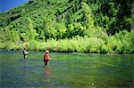 1980s MAN AND BOY FLY FISHING PROVO RIVER UTAH